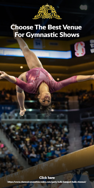 Beautiful Young Fit Gymnast Woman In Pink Sportswear Performing In a Grand Exhibition Venue.