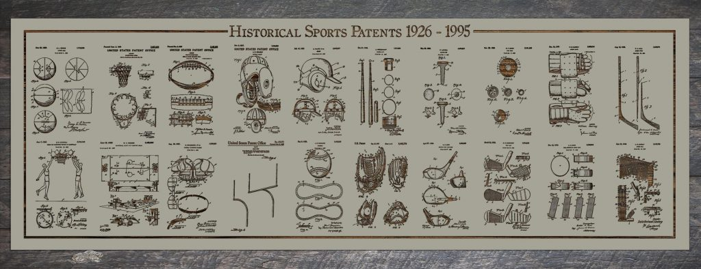 An image showing multiple sports and their historical patents in a frame.