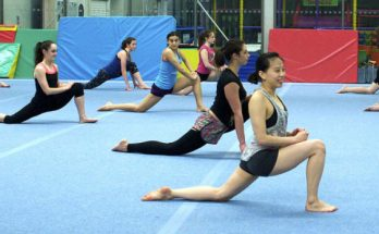 Group of Gymnasts in a practice session